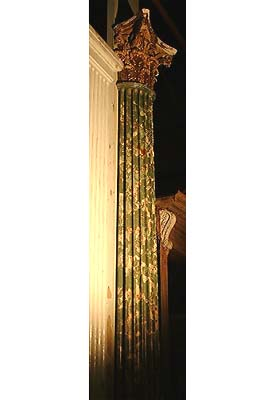 A pair of English scagliola and gilt plaster fluted pilasters-0