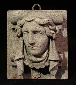 An composition granite relief mask of Joan of Arc-0
