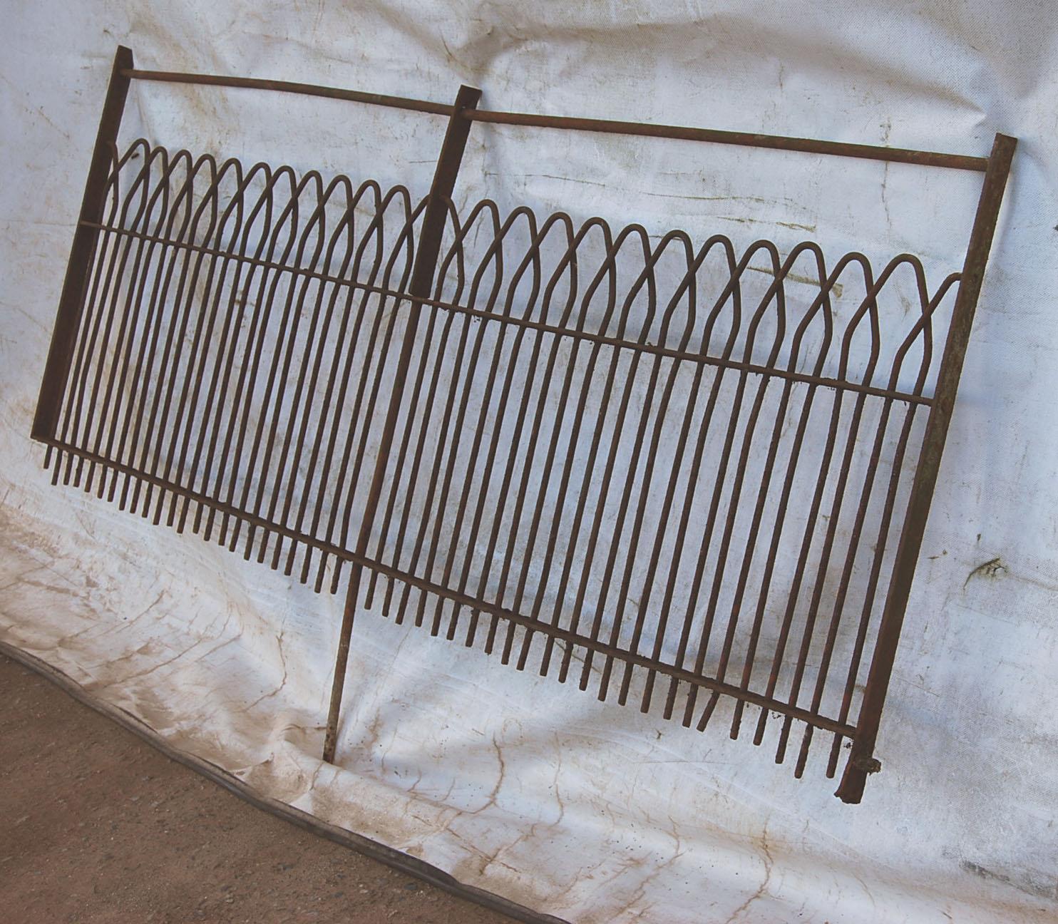 A good run of antique wrought iron estate fencing-72794