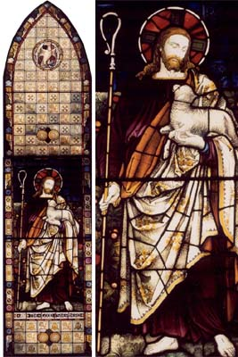 A tall Victorian stained glass lancet window depicting-0