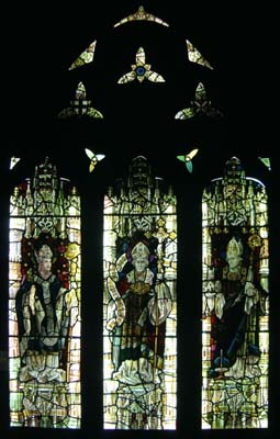 A Victorian three light stained glass window,-0