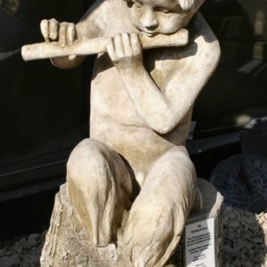 A composition stone Faun seated on a log-0