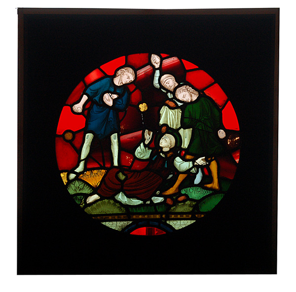A stained and painted glass window depicting the stoning of St. Stephan-0