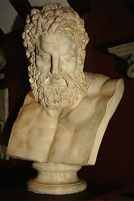An impressive English composition stone bust of Hercules-0