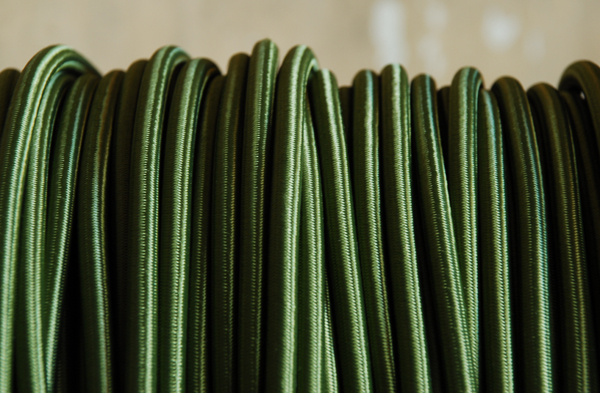 Olive green braided electrical cable-0