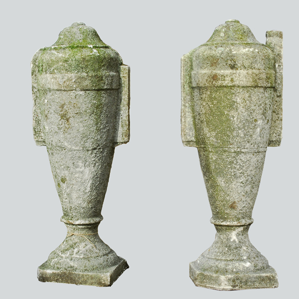 A number of concrete lidded urn finials,-0