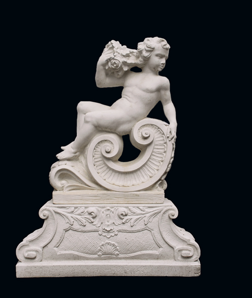 An Italian reconstituted marble putto personifying 'Spring'-0