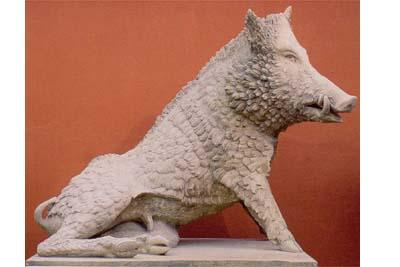 An impressive reconstituted stone figure of the Uffizi boar-0
