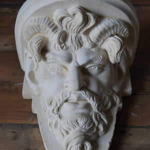 A cast plaster Satyr mask bracket-0
