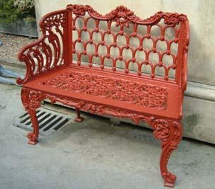 A cast iron garden bench-0