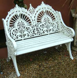 A cast iron two seater garden bench-0