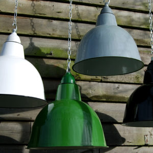 Industrial style enamelled lampshades-0
