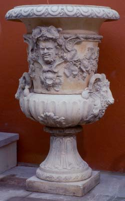 """A large French composition stone semi-fluted Campana urn representing """"Autumn""""-0"""