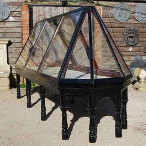 A late Victorian ebonised mahogany pyramid museum display case-0