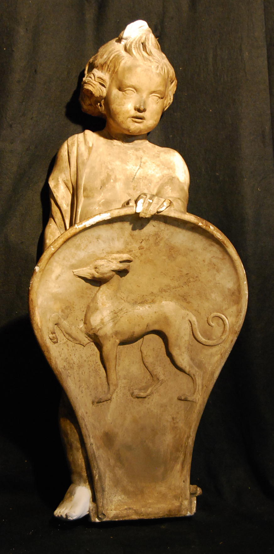 An English plaster figure of a boy holding a shield-0
