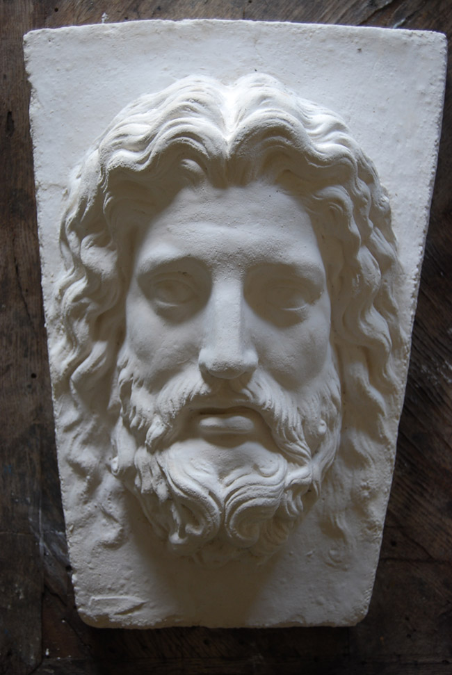 An English relief cast plaster Asclepius keystone-0
