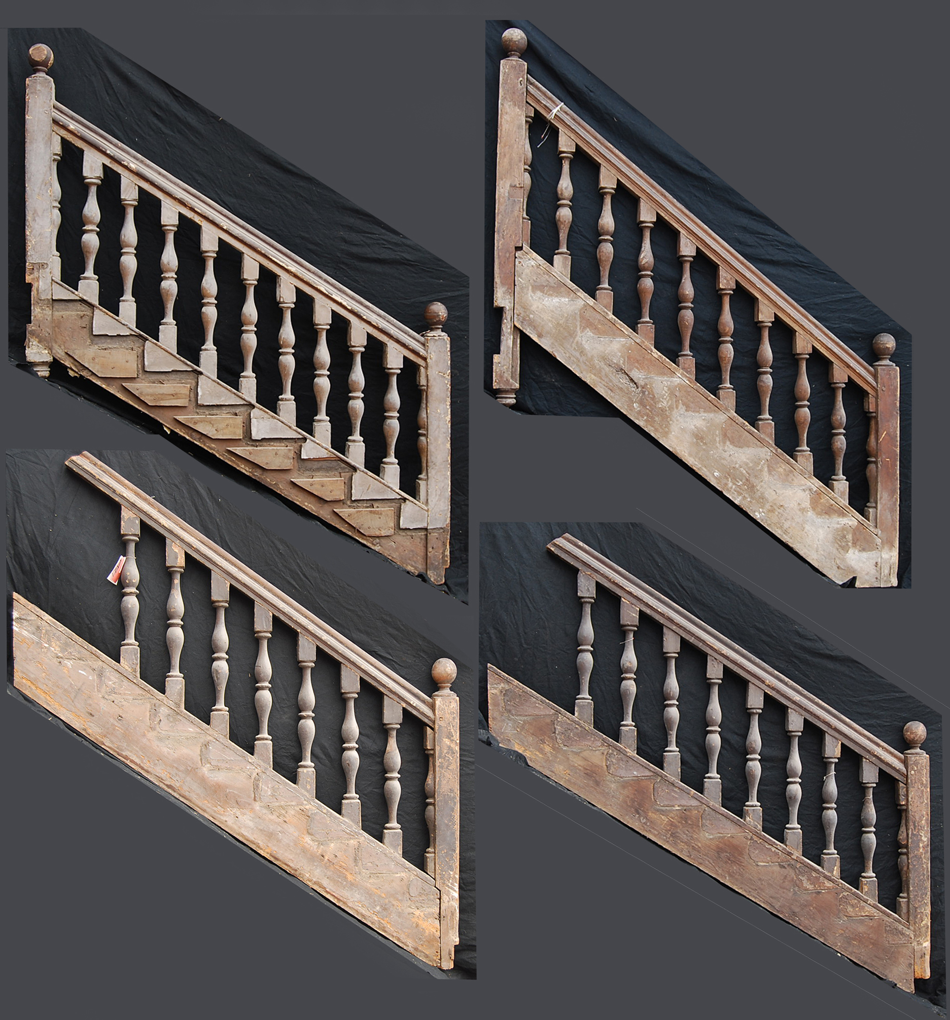 A very rare English pine staircase balustrade-0