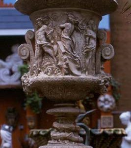 An impressive English composition stone Campana urn-0