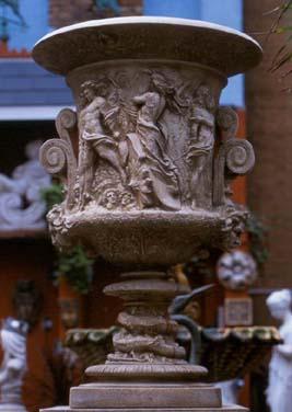 An impressive English composition stone Campana urn-0
