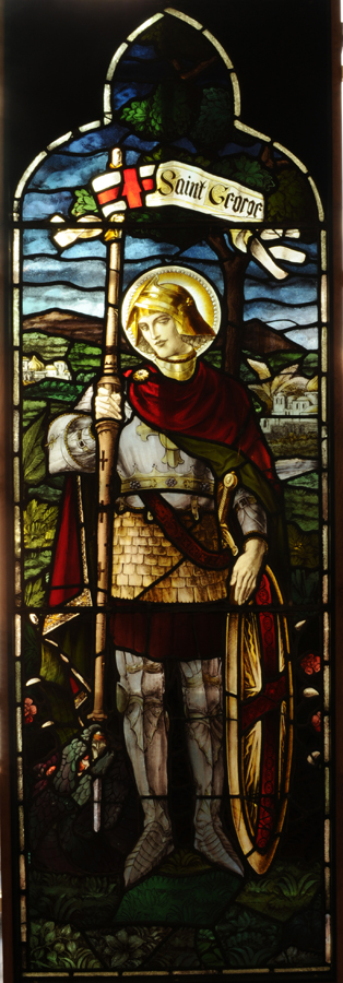 A Stained and Painted Glass Window Panel Depicting St.George-0