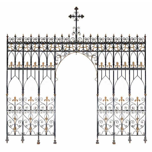 A wrought and cast iron chancel screen-0