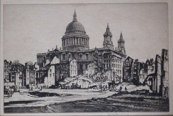 St. Pauls from Paternoster Row, Blitz, Henry Rushbury