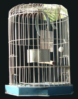 A painted metal Canary birdcage-0