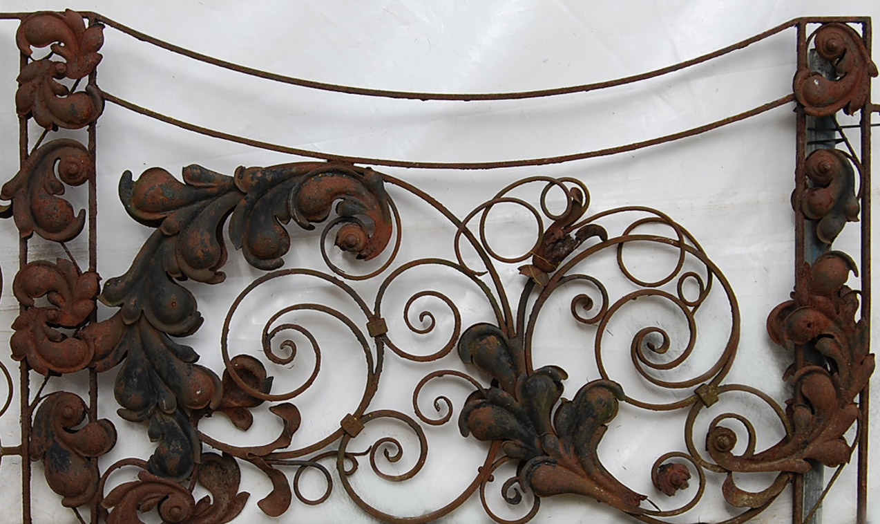 A pair of old wrought iron terrace gates-0