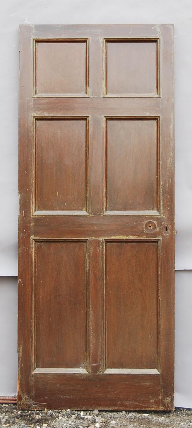 A mahogany six panelled door-72186