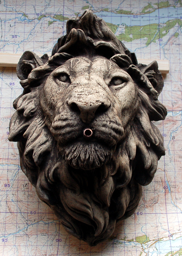 A composition stone lion fountain head-0