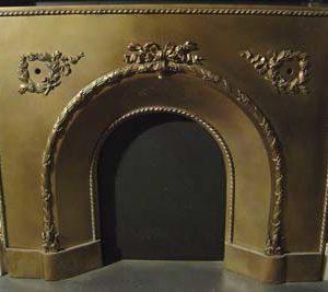 A Victorian brass fireplace insert-0