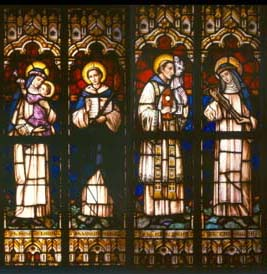 Two American double panels of stained glass windows depicting saints of the Dominican order-0