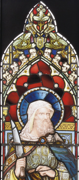 A stained and painted glass window panel depicting St. Bartholomew-73377