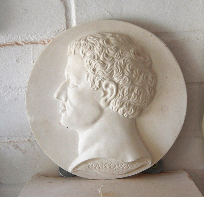 An English relief cast plaster portrait roundel of Canova-0