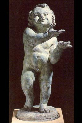 """An English bronze figure of a putto personifying """"Spring""""-0"""
