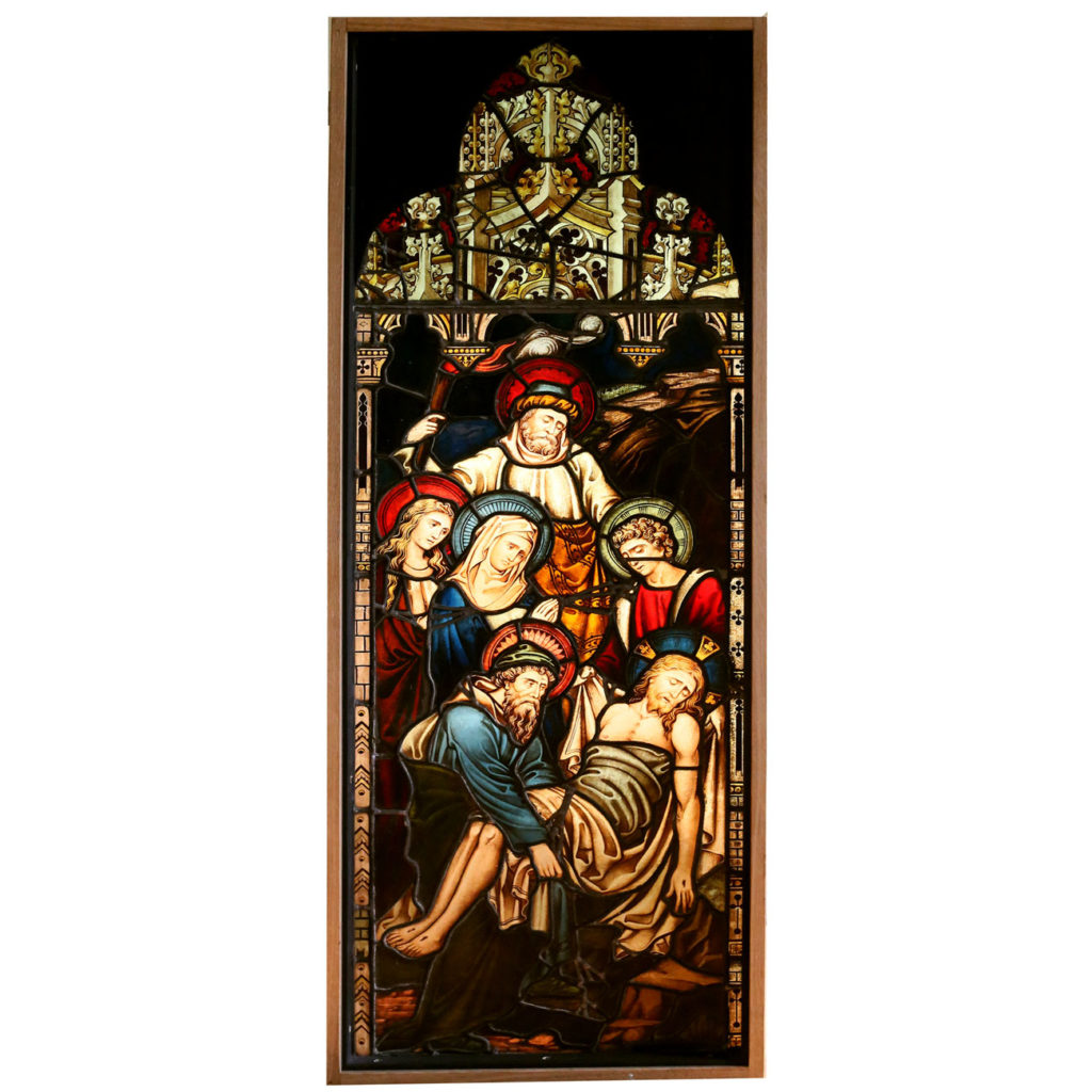 A pair of fine Victorian stained glass panels-86531