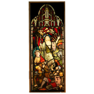 A pair of fine Victorian stained glass panels-0