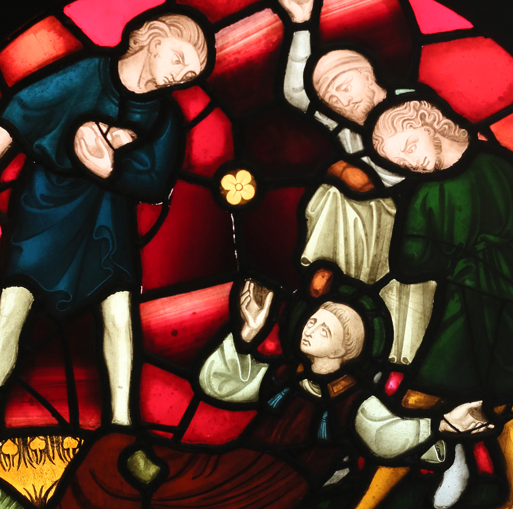 A stained and painted glass window depicting the stoning of St. Stephan-86001