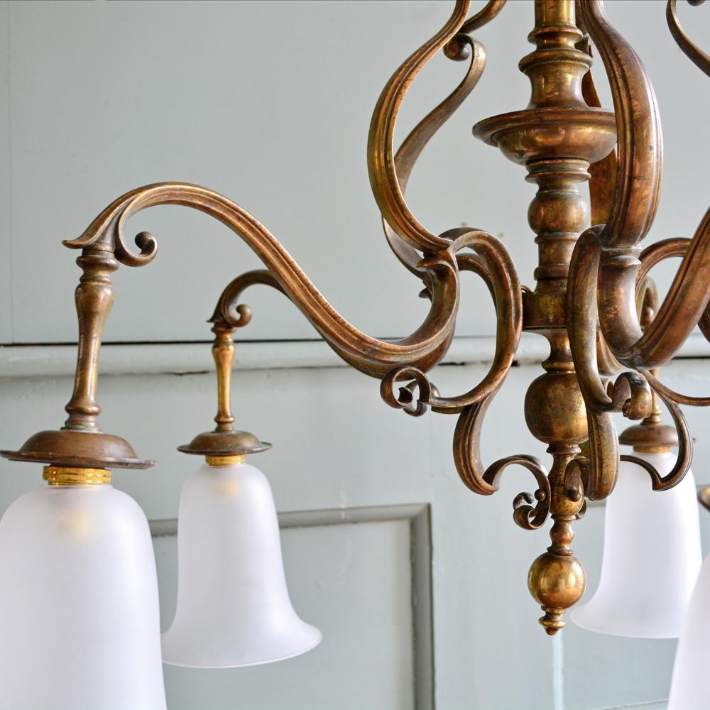 English five-arm brass chandelier,-79537