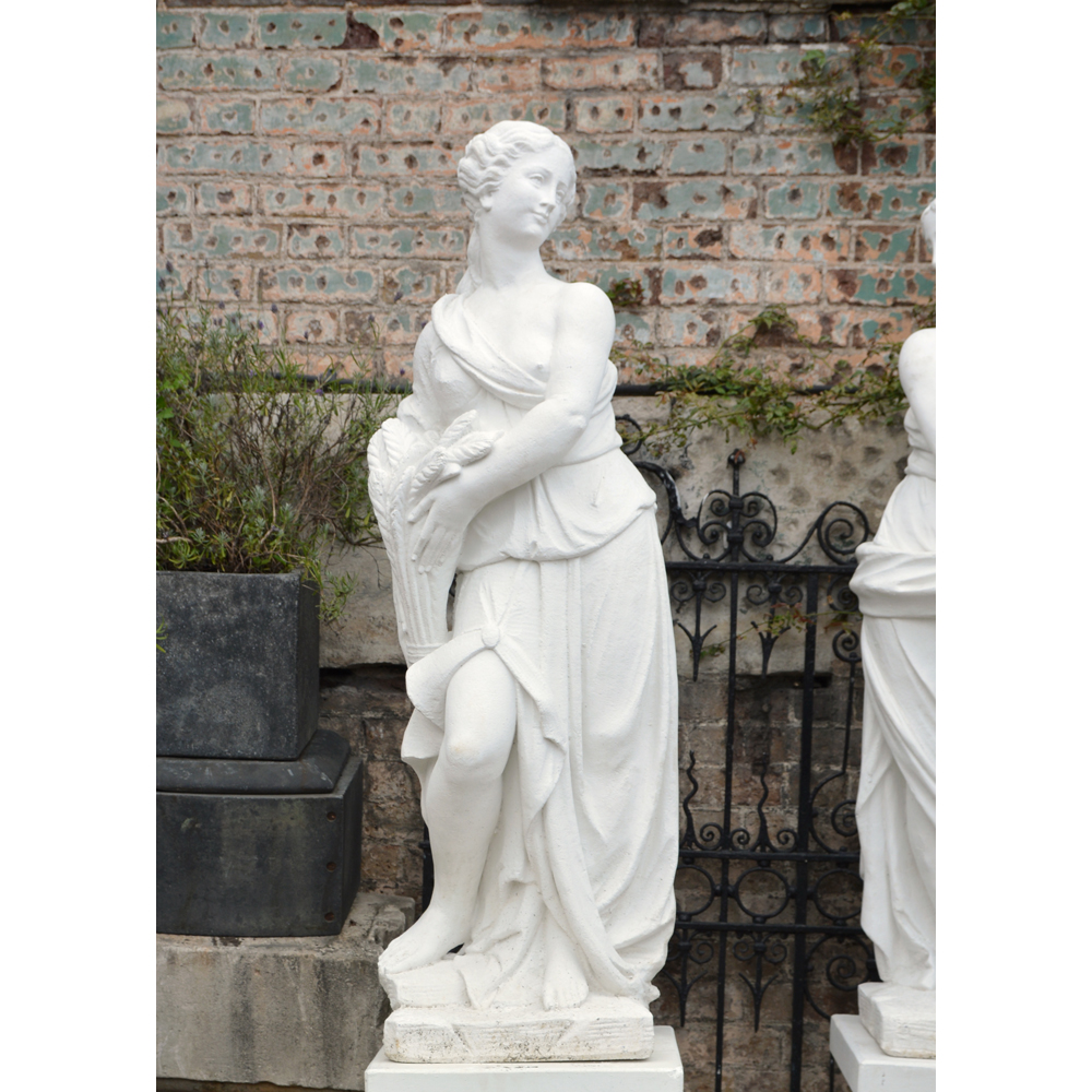 An Italian reconstituted marble figure of a maiden personifying 'Summer'-0