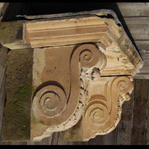 A George II sandstone door canopy,-0