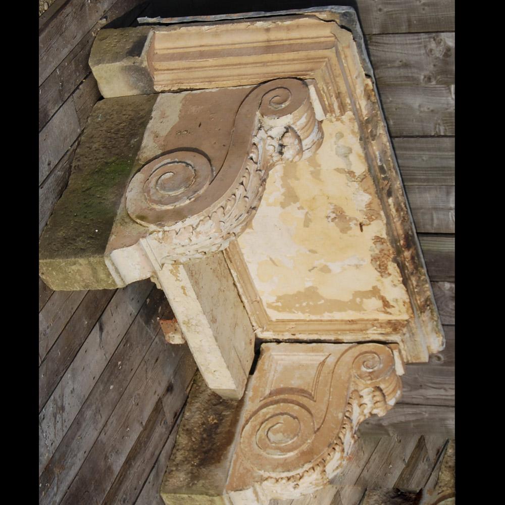 A George II sandstone door canopy,-80251