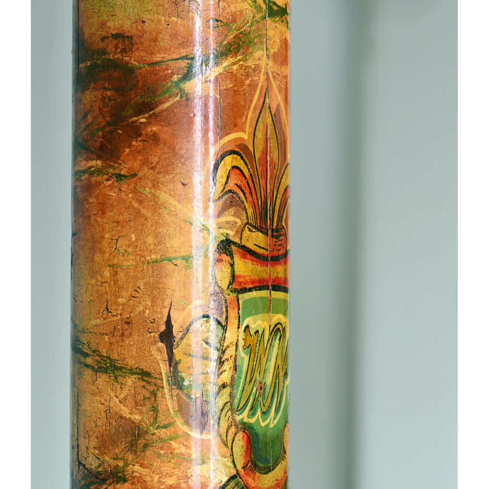 A pair of wooden fairground columns,-80177