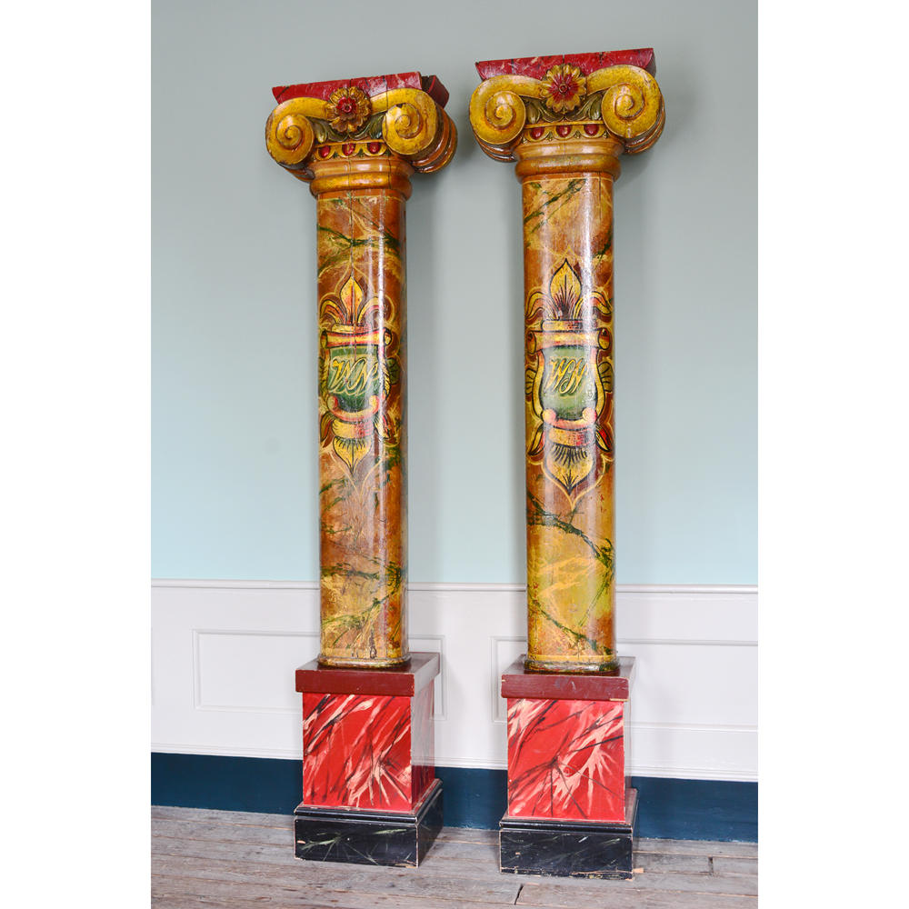 A pair of wooden fairground columns,-80176