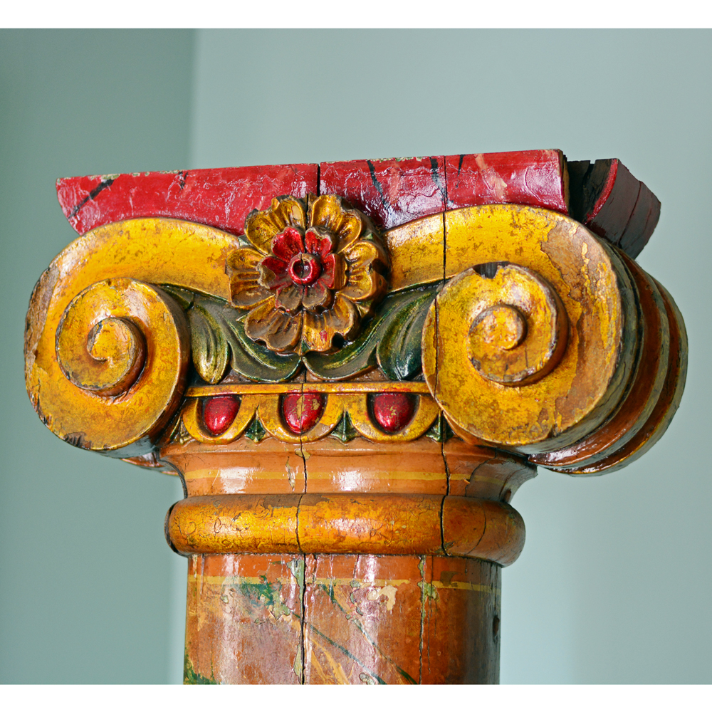 A pair of wooden fairground columns,-80181