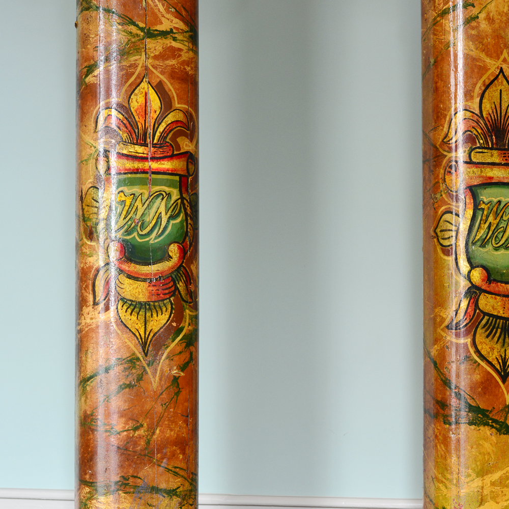 A pair of wooden fairground columns,-80175