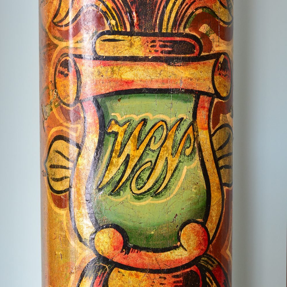 A pair of wooden fairground columns,-80179