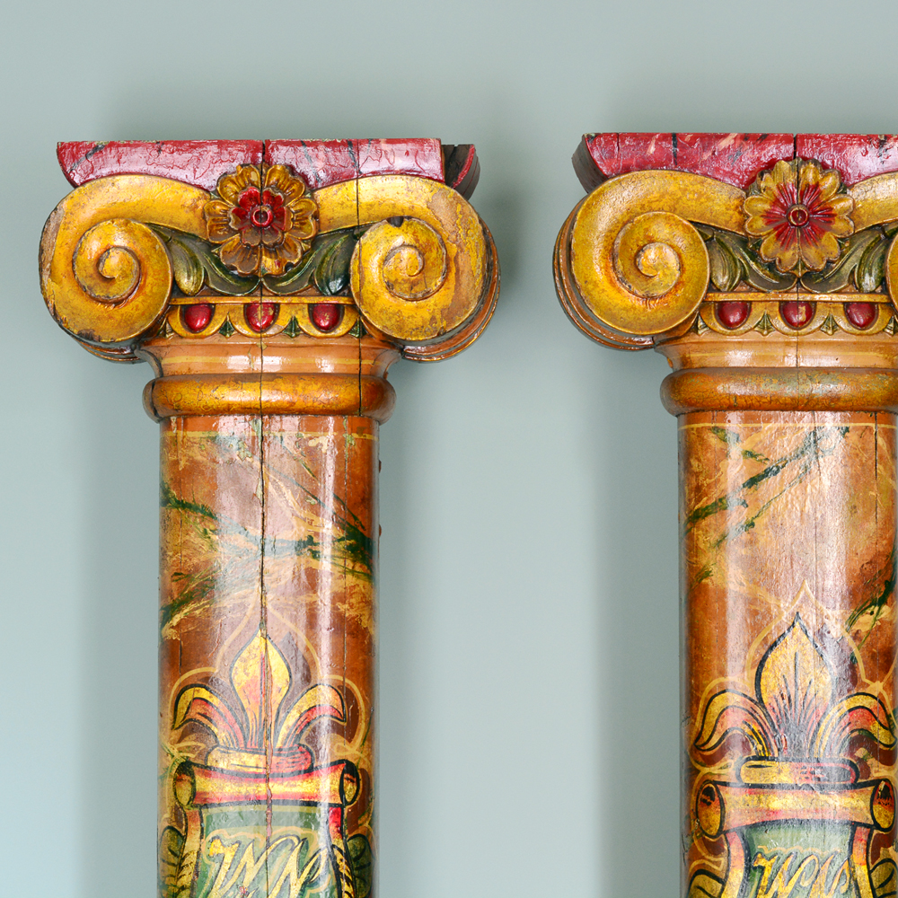 A pair of wooden fairground columns,-80172