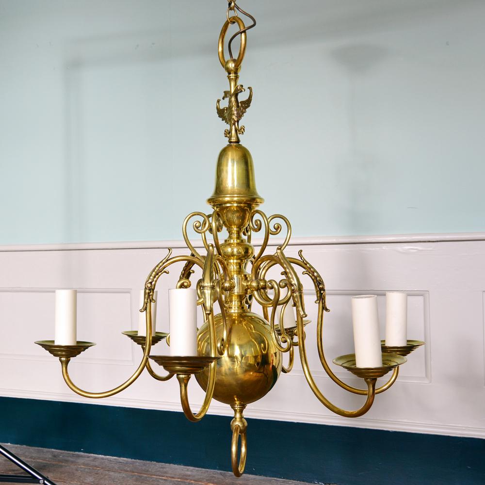 A brass six branch chandelier-80515