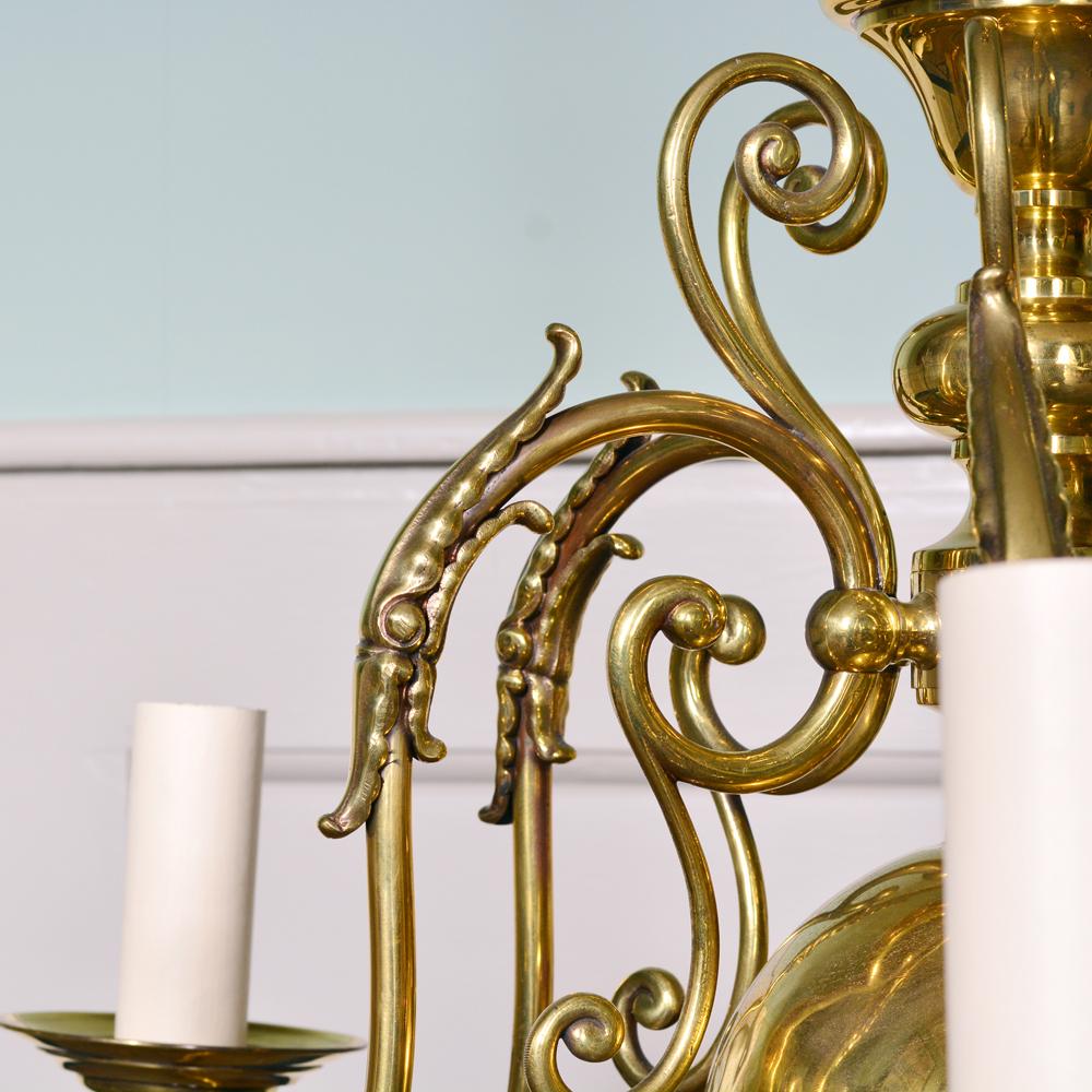 A brass six branch chandelier-80514